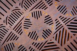 Star shaped steel grates, Fort Worth Stockyards National Historic District, Fort Worth, Texas, USA.