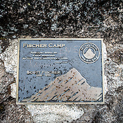 A plaque commemorating mountaineer Scott Fischer who died in 1996 on Mt Everest. The nearby camp on Kilimanjaro has been renamed Fischer Camp in his honor.