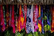 Image of colorful scarves for sale on Bora Bora, Tahiti, French Polynesia by Andrea Wells
