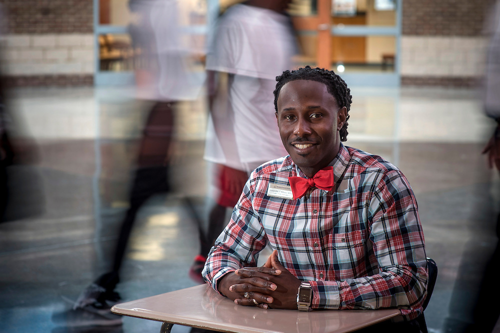 Faculty Expert Environmental Portraits - Duel Enrollment: Savannah Technical College Coordinator of High School Initiatives Christopher Williams in the mail lobby of  the Woodville Tompkins Career Technical Institute, Monday Aug. 4, 2014 in Savannah, Ga. (STC Photo/Stephen B. Morton)