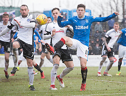 Rangers' Josh Windass and Ayr United's Michael Moffat (left) battle for the ball during the William Hill Scottish Cup, fifth round match at Somerset Park, Ayr.