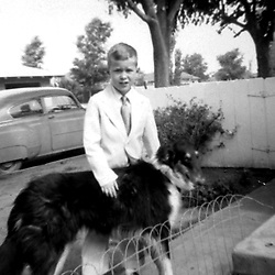 HS576  George W. Bush with his dog in Midland, Texas.<br /> 11 February 1954.<br /> Photo credit: GEORGE BUSH PRESIDENTIAL LIBRARY