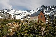 The Wedgemount Lake Hut in Garibaldi Provincial Park, British Columbia, Canada on June 13, 2009.