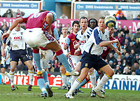 Photo: Ed Godden.<br />Aston Villa v Portsmouth. The Barclays Premiership. 04/03/2006. <br />Milan Baros (L) heads the ball in for Villa to make it 1-0.