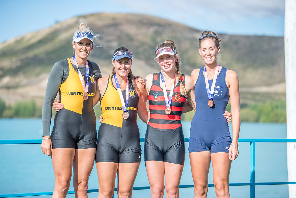 Crews competing at the NZ Champs on Saturday 23 February 2019, Lake Ruataniwha, Twizel.<br /> <br /> © Copyright photo Steve McArthur / @RowingCelebration   www.rowingcelebration.com