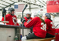 Lori Marsh, Lara Arsenault, Nancy Voorhis and Adele Champoux strategize on the bench after the second period during Tuesday evenings Lakes Region Womens Hockey Club at the Laconia Ice Arena.   (Karen Bobotas/for the Laconia Daily Sun)