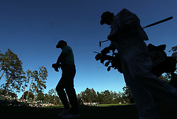 Charley Hoffman and his caddie, Brett Waldman, walk to the 14th teeduring the third round of the Masters Tournament at Augusta National Golf Club in Augusta, Ga., on Saturday, April 8, 2017. (Photo by Curtis Compton/Atlanta Journal-Constitution/TNS) *** Please Use Credit from Credit Field ***