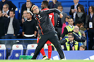 Jurgen Klopp, the Liverpool manager celebrates towards the Liverpool fans after the final whistle. Premier league match, Chelsea v Liverpool at Stamford Bridge in London on Friday 16th September 2016.<br /> pic by John Patrick Fletcher, Andrew Orchard sports photography.