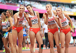 The Polish 4x400m Women's Relay Team Iga Baumgart, Martyna Dabrowska, Patrycja Wyciszkiewicz and Malgorzata Holub blow kisses to the crowd during day nine of the 2017 IAAF World Championships at the London Stadium. PRESS ASSOCIATION Photo. Picture date: Saturday August 12, 2017. See PA story ATHLETICS World. Photo credit should read: Adam Davy/PA Wire. RESTRICTIONS: Editorial use only. No transmission of sound or moving images and no video simulation.