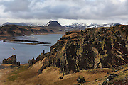 View of the mountains north of Dyrholaey in southern Iceland