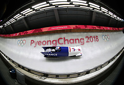 France's Romain Heinrich and Dorian Hauterville during the first heat of the Two Man Bobsleigh event at the Olympic Sliding Centre on day nine of the PyeongChang 2018 Winter Olympic Games in South Korea.