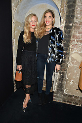 Left to right, KATE FOLEY and CHELSEA LEYLAND at a party to celebrate 10 years of footware designer Nicholas Kirkwood held at 9 Adam Street, London on 19th September 2015.