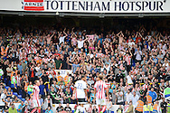 Stoke City away supporters celebrate during the second half as their team is level at 2-2 Barclays Premier league match, Tottenham Hotspur v Stoke city at White Hart Lane in London on Saturday 15th August 2015.<br /> pic by John Patrick Fletcher, Andrew Orchard sports photography.
