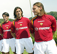 Roma 26/7/2004<br /> <br /> <br /> <br /> Trigoria sede AS Roma presentazione delle maglie Diadora per l AS Roma stagione 2004/2005. <br /> <br /> <br /> <br /> <br /> <br /> <br /> <br /> Totti Delvecchio e Panucci - AS Roma<br /> <br /> Photo Andrea Staccioli / Graffiti