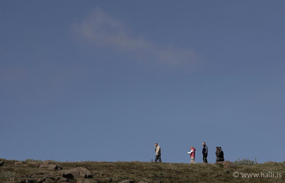 Ferðamenn við Gullfoss / Tourists near the waterfall, Gullfoss in the south coast
