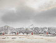 A sign advertize the raising of horses used by the Army, in the wide snowy expanse past Xining, in Qinghai province in central China, by the Tibetan Plateau. Life in the train from Hong Kong to Urumqi, Xinjiang.
