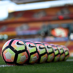 BRISBANE, AUSTRALIA - NOVEMBER 19: View of the warm up balls prior to the round 7 Hyundai A-League match between the Brisbane Roar and Sydney FC at Suncorp Stadium on November 19, 2016 in Brisbane, Australia. (Photo by Patrick Kearney/Brisbane Roar)
