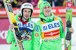 Winner Robert Kranjec (SLO) and second placed Peter Prevc (SLO) celebrate prior to the trophy ceremony after the Ski Flying Hill Individual Competition at Day 2 of FIS Ski Jumping World Cup Final 2016, on March 18, 2016 in Planica, Slovenia. Photo by Vid Ponikvar / Sportida