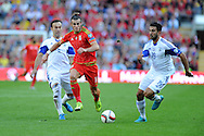 Gareth Bale of Wales looks to go past Israel's Orel Dgani ® and Bibras Natcho (l)..  Euro 2016 qualifying match, Wales v Israel at the Cardiff city stadium in Cardiff, South Wales on Sunday 6th Sept 2015.  pic by Andrew Orchard, Andrew Orchard sports photography.
