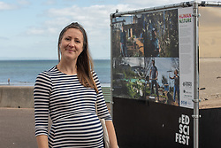 The first event of the 2021 Edinburgh Science Festival opened today on Portobello Promenade. The Human Nature photography exhibition features work of a range of critically acclaimed photographers, including Lucas Foglia whose photographs often feature in the National Geographic and New York Times and Anna Deacon, an Edinburgh-based photographer and author known for her portraits of wild swimmers. Exhibition curator Emily Raemaekers<br /> <br /> <br /> © Jon Davey/ EEm