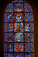 Medieval Windows  of the Gothic Cathedral of Chartres, France, dedicated to Notre Dame de la Belle Verriere. The centre panels show the Virgin Mary and child below which are Four angels bearing columns supporting the 'Throne of Wisdom' with panels showing angels around the Virgin and Child. A UNESCO World Heritage Site. .<br /> <br /> Visit our MEDIEVAL ART PHOTO COLLECTIONS for more   photos  to download or buy as prints https://funkystock.photoshelter.com/gallery-collection/Medieval-Middle-Ages-Art-Artefacts-Antiquities-Pictures-Images-of/C0000YpKXiAHnG2k
