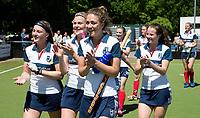 HUIZEN - Eva den Hartog (Huizen) en links Grace Huberts (Huizen) bij de eerste play off wedstrijd voor promotie naar de hoofdklasse , Huizen-Nijmegen (3-2) COPYRIGHT KOEN SUYK