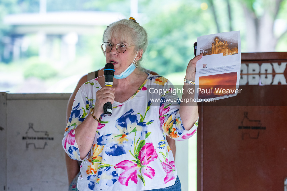 Gail Lutz speaks at a rally against a proposed natural gas power plant in Renovo, Pennsylvania on July 17, 2021. The Pennsylvania Department of Environmental Protection granted a permit in April 2021 for Renovo Energy Center LLC to construct and operate a gas-fired power plant in Renovo Borough. (Photo by Paul Weaver)
