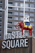 The iconic Elephant at Elephant and Castle in south London, has returned after restoration, to its new place overlooking Elephant Square, on 24th June 2021, in London, England. The statue, a replica of the one that stood above the Elephant and Castle pub from 1898 to 1959, was taken down earlier this year from outside the recently demolished shopping centre.  (Photo by Richard Baker / In Pictures via Getty Images) CREDIT RICHARD BAKER.