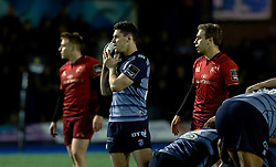Cardiff Blues' Tomos Williams makes the call<br /> <br /> Photographer Simon King/Replay Images<br /> <br /> Guinness PRO14 Round 15 - Cardiff Blues v Munster - Saturday 17th February 2018 - Cardiff Arms Park - Cardiff<br /> <br /> World Copyright © Replay Images . All rights reserved. info@replayimages.co.uk - http://replayimages.co.uk