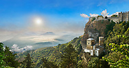View of the Norman Castello di Vénere castle of Venus above  small Torretta Pepoli Erice, looking out through cloudsto the sea below .<br /> <br /> Visit our SICILY PHOTO COLLECTIONS for more   photos  to download or buy as prints https://funkystock.photoshelter.com/gallery-collection/2b-Pictures-Images-of-Sicily-Photos-of-Sicilian-Historic-Landmark-Sites/C0000qAkj8TXCzro<br /> <br /> <br /> Visit our MEDIEVAL PHOTO COLLECTIONS for more   photos  to download or buy as prints https://funkystock.photoshelter.com/gallery-collection/Medieval-Middle-Ages-Historic-Places-Arcaeological-Sites-Pictures-Images-of/C0000B5ZA54_WD0s