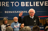 Democratic presidential candidate Bernie Sanders addresses seniors at the Weirs Beach Community Center on Monday morning.  (Karen Bobotas/for the Laconia Daily Sun)