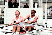 Henley Royal Regatta, Henley on Thames, Matt Pinsent [left[ and  Steve Redgrave,  competing in the Silver Goblets, and Nickalls' Challenge Cup. ENGLAND, 1995, © Peter Spurrier/Intersport Images Tel +44 [0] 7973 819 551 / email images @intersport-images. com[Mandatory Credit Peter Spurrier/ Intersport Images] . HRR.