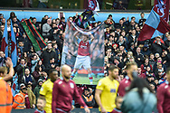 A banner of Olaf Mellberg in the North Stand during the EFL Sky Bet Championship match between Aston Villa and Birmingham City at Villa Park, Birmingham, England on 25 November 2018.