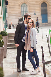 Young French couple in Le Marais, Paris, France. 09/05/14. Photo by Andrew Tallon