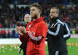 Wes Burns of Wales applauds as they qualify for Euro 2016 - Mandatory byline: Dougie Allward/JMP - 07966 386802 - 13/10/2015 - FOOTBALL - Cardiff City Stadium - Cardiff, Wales - Wales v Andorra - European Qualifier 2016 - Group B