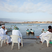 Drinking tea at a fishing port in the Dhofar Governorate.