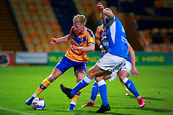 Jason Taylor of Barrow attempts to block a pass rom Harry Charsley of Mansfield Town - Mandatory by-line: Ryan Crockett/JMP - 27/10/2020 - FOOTBALL - One Call Stadium - Mansfield, England - Mansfield Town v Barrow - Sky Bet League Two