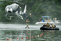 The Navy Seal Team jumping from their helicopter during the mission demonstration on Wellington State Beach at Newfound Lake.  (Karen Bobotas Photographer)