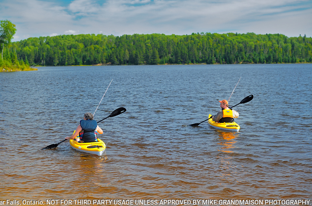 Fishing and kayaking on Lac Seul <br />Ear Falls<br />Ontario<br />Canada