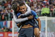 Kylian Mbappe of France with Presnel Kimpembe celebrate after winning the 2018 FIFA World Cup Russia, Semi Final football match between France and Belgium on July 10, 2018 at Saint Petersburg Stadium in Saint Petersburg, Russia - Photo Thiago Bernardes / FramePhoto / ProSportsImages / DPPI