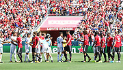 Manchester United players win on penalties and celebrate during the AON Tour 2017 match between Real Madrid and Manchester United at the Levi's Stadium, Santa Clara, USA on 23 July 2017.