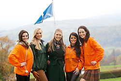 Miss Scotland Jennifer Reochs (right) with Miss Northern Ireland Finola Frances Guinnane, Miss Northern Ireland Finola Frances Guinnane, and the current Miss world Alexanrda Mills and Miss Wales Sara Jessica Manchipp..The Miss World 2011 contestants take part in Highland Games in the grounds of Crieff Hydro, Perthshire..MISS WORLD 2011 VISITS SCOTLAND..Pic © Michael Schofield.