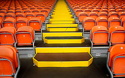 A general view of empty seats at Bloomfield Road