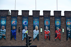 CARDIFF, WALES - Thursday, May 11, 2017: Branding is installed on the ramparts of Cardiff Castle ahead of the UEFA Champions League Final taking place in the National Stadium of Wales on Saturday June 3rd at 19:45. (Pic by David Rawcliffe/Propaganda)