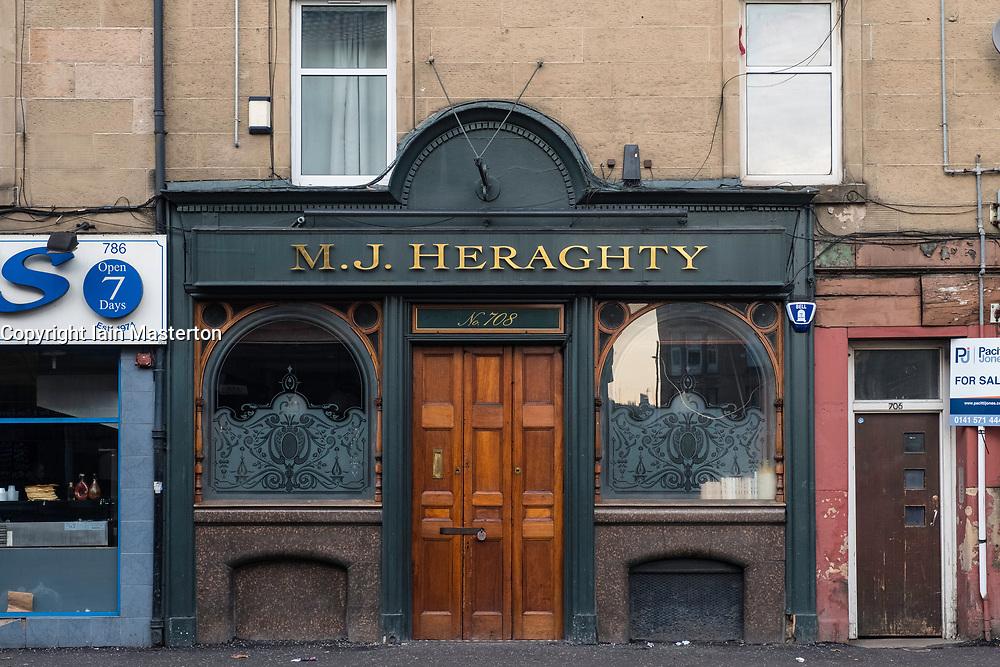 Exterior view of famous old pub MJ Heraghty on Pollokshaws Road in Glasgow, Scotland, United Kingdom