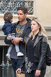 EXCLUSIVE: Real Madrid player, Raphael Varane, and wife Camille Tytga enjoy a free day in Madrid with little son. 23 Apr 2018 Pictured: Raphael Varane and Camille Tytga. Photo credit: MEGA TheMegaAgency.com +1 888 505 6342