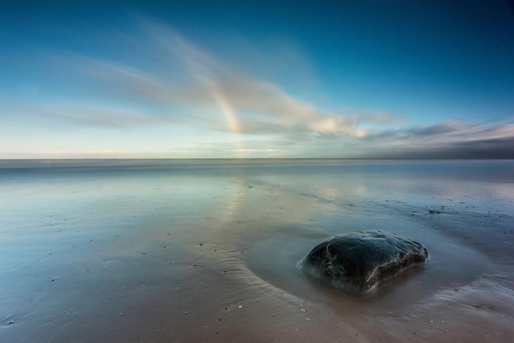 Rainbow on Hornsea Beach, East Yorkshire.
