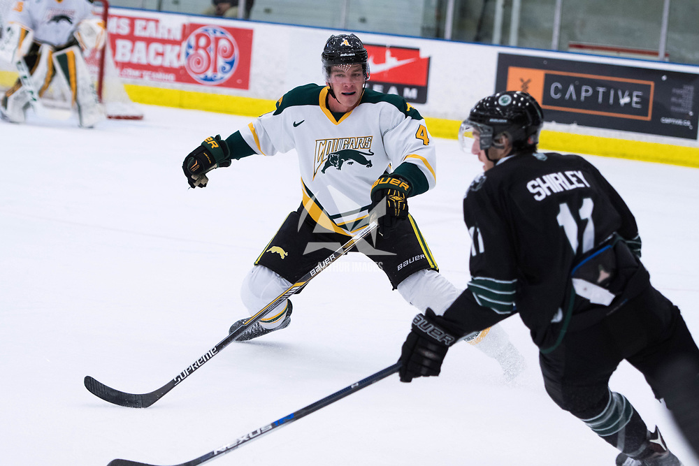 2nd year defence man Isaac Schacher (4)in action during the Men's Hockey Home Opener on October 6 at Co-operators arena. Credit: Arthur Ward/Arthur Images