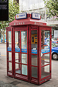 Public telephone booth in Shanghai, China