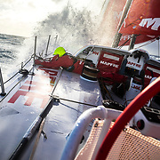 Leg 7 from Auckland to Itajai, day 11 on board MAPFRE, Sophie Ciszek setting up a rope, 28 March, 2018.